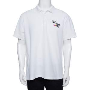 Burberry White Cotton Pique Triple Archive Logo Embroidered Polo T-Shirt XL