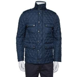 Burberry Brit Navy Blue Synthetic Diamond Quilted Zipper Front Jacket XS