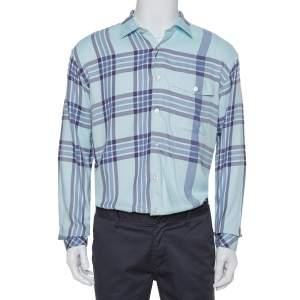 Burberry Blue Cotton Plaid Button Front Shirt M