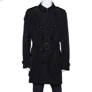 Burberry Black Synthetic Double Breasted Belted Trench Coat XXL