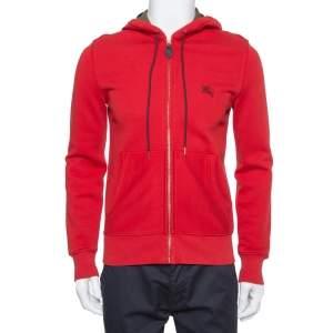 Burberry Brit Red Cotton Zip Front Hoodie S
