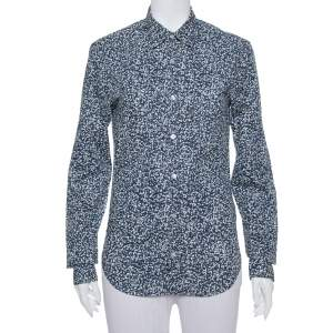 Burberry Brit Navy Blue Printed Cotton Button Front Shirt XS