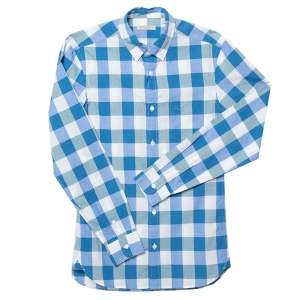 Burberry Blue Reydon Check Patterned Cotton Button Front Shirt XS