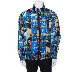 Burberry Blue Graffiti Printed Synthetic Zipper Front Shell Jacket XL