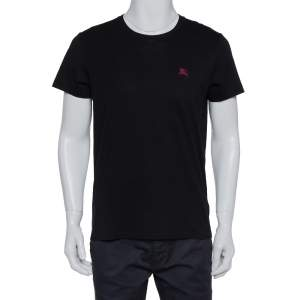 Burberry Black Cotton Crewneck T-Shirt M