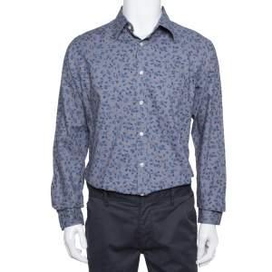 Burberry Grey Floral Print Cotton Connock Button Front Shirt L