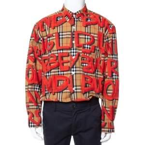 Burberry Beige Nova Check Cotton Graffiti Print Long Sleeve Jameson Shirt XXXL