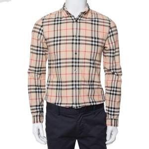 Burberry Brit Beige Nova Check Patterned Cotton Button Front Shirt S