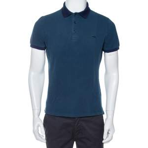 Burberry Deep Teal Blue Cotton Pique Contrast Collar Atkins Polo T-Shirt L