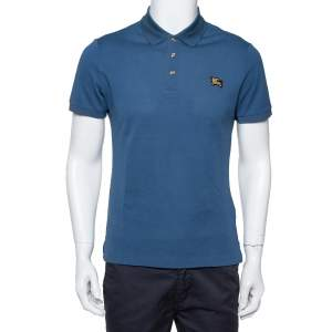 Burberry Teal Blue Cotton Pique Polo T-Shirt M
