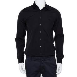 Burberry Brit Black Cotton Nova Check Detail Button Front Shirt S