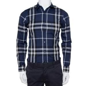 Burberry Brit Navy Blue Checkered Cotton Button Front Shirt XS
