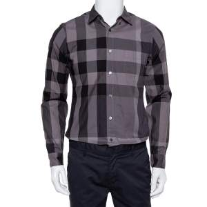 Burberry Brit Dark Grey Check Patterned Cotton Button Front Shirt S