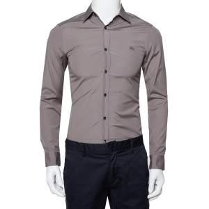 Burberry Brit Grey Cotton Nova Check Detail Button Front Shirt XS