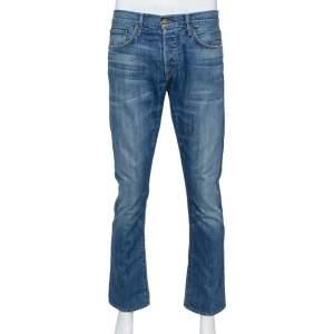 Burberry Brit Navy Blue Washed Effect Denim Straight Leg Jeans M