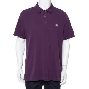 Burberry Brit Purple Cotton Pique Polo T-Shirt XXL