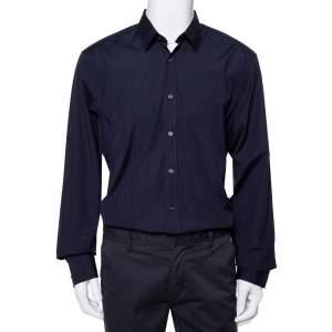 قميص بربري بريت قطن أزرق كحلي كاروهات نوفا بأزرار أمامية إكس إكس إكس لارج - كبير جدًا جدًا جدًا