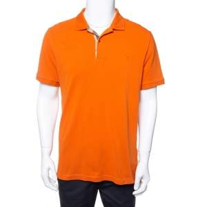 Burberry Burnt Orange Cotton Pique Polo T-Shirt XL