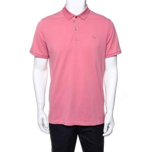 Burberry Pink Cotton Pique Polo T-Shirt XL