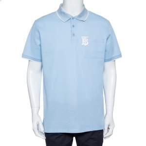 تي شيرت بولو بربري مطرز شعار بيك قطن أزرق مقاس كبير