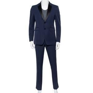 Burberry Navy Blue Wool Contrast Satin Trim Detail Millbank Tuxedo Suit M