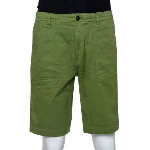 Burberry Brit Green Denim Cargo Pocket Detail Shorts XL