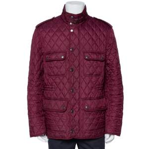 Burberry Brit Burgundy Synthetic Quilted Zip Front Jacket XL