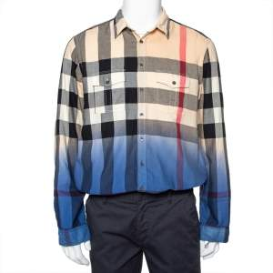 Burberry Brit Multicolor Ombre Cotton Nova Checkered Button Front Shirt XL