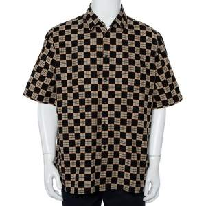 Burberry Black & Beige Checkered Cotton Short Sleeve Shirt XL
