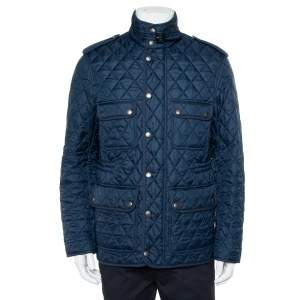 Burberry Brit Navy Blue Synthetic Quilted Russell Field Jacket M