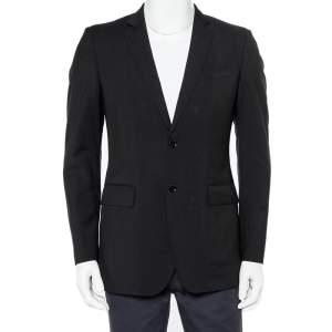 Burberry Black Wool Button Front Blazer M