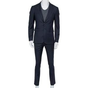 Burberry Navy Blue Wool Formal Suit M