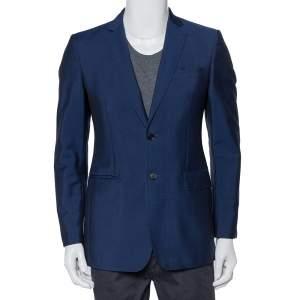 Burberry Blue Wool & Mohair Button Front Milbury Blazer M