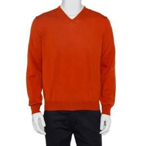 Burberry Burnt Orange Wool V-Neck Sweater M