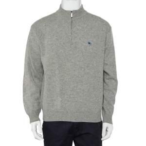 Burberry Grey Lambwool Half Zip High Neck Sweater M