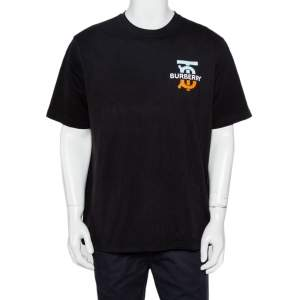 Burberry Black Logo Printed Cotton Crewneck Oversized T-Shirt M