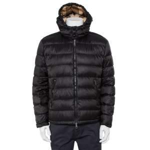 Burberry Brit Black Synthetic Detachable Hood Detail Puffer Jacket XL