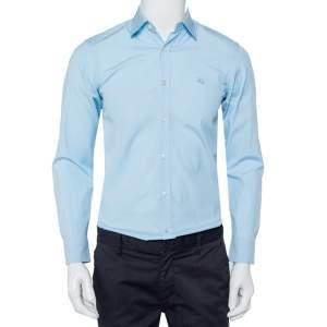 قميص بربري قطن أزرق كاروهات نوفا بأزرار أمامية مقاس صغير جدًا - إكس سمول