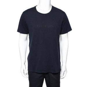 Burberry Navy Blue Cotton Knit Logo Printed Crewneck T-Shirt XL