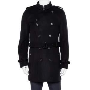 معطف بربري صوف أسود بحزام مقاس كبير - لارج