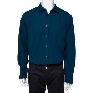 Burberry Dark Teal Blue Cotton Button Front Shirt XXL