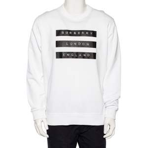 Burberry White Logo Tape Printed Cotton Knit Sweatshirt L