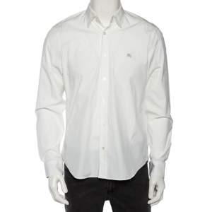 Burberry Brit White Cotton Nova Check Detail Button Front Shirt L
