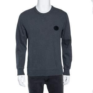Burberry Grey Knit Logo Crest Embroidered Jayford Sweatshirt S