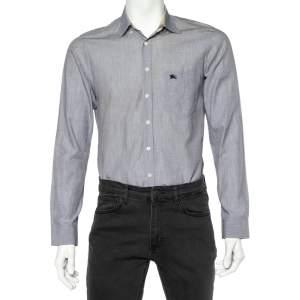 Burberry Grey Cotton Nova Check Trim Detail Button Front Shirt S