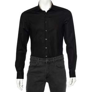 Burberry Black Cotton Nova Check Detail Button Front Shirt S
