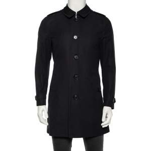 Burberry Navy Blue Cotton Belted Britton Trench Coat M