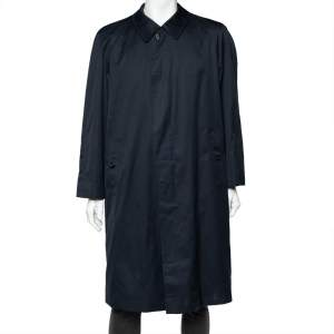 Burberry Vintage Navy Blue Cotton And Check Wool Lined Button Front Long Coat XL