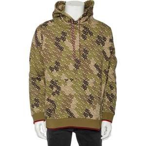 Burberry Green Logo Camouflage Printed Cotton Knit Hoodie L