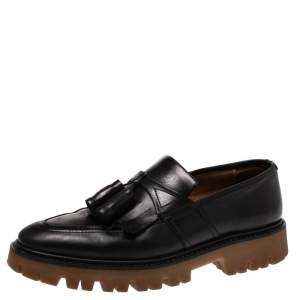 Burberry Black Leather Tassel Fringe Loafers Size 42